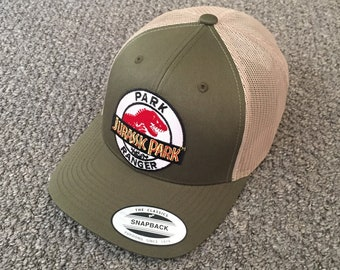 4ec2d285 Jurassic Park Ranger Hat Trucker SnapBack Cap with Embroidered Patch  Handcrafted in the USA!