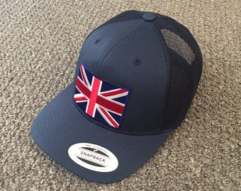 002fb7c9f9a United Kingdom British Union Jack Flag Hat SnapBack American Trucker Mesh  Cap Handcrafted in the USA! Color  Navy Navy