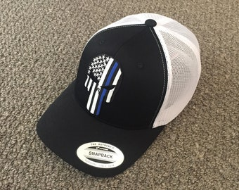 PUNISHER Police Thin Blue Line Hat USA Flag SnapBack American Trucker Cap  Hancrafted in the USA! f9e6158c371d