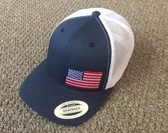 d6dba8e929d US Flag Hat American Trucker Mesh SnapBack Cap Handcrafted in the USA!  Color  Navy White