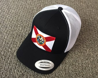 2bfbc4afd68bed State of FLORIDA Flag Hat American Trucker SnapBack Mesh Cap Handcrafted in  the USA! Color: Black/White