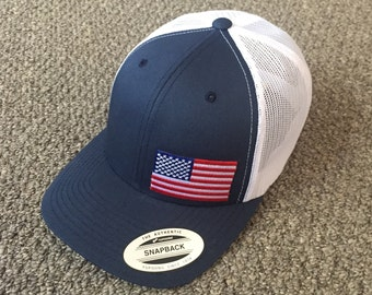 e1e8b22c50df1 US Flag Hat American Trucker Mesh SnapBack Cap Handcrafted in the USA!  Color  Navy White
