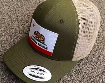 de3cf434880 State of CALIFORNIA Flag Hat SnapBack American Trucker Mesh Cap Handcrafted  in the USA! Color  Moss Khaki
