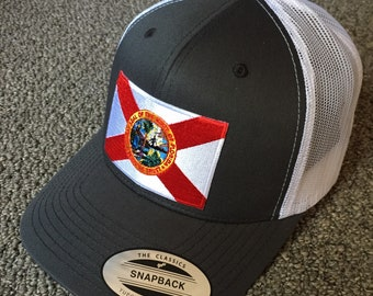 ec74241c3178b8 State of FLORIDA Flag Hat American Trucker SnapBack Mesh Cap Handcrafted in  the USA! Color: Charcoal/White