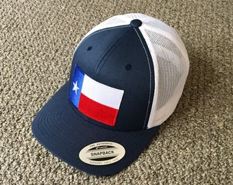 64bb79c549e State of TEXAS Flag Hat SnapBack American Trucker Mesh Cap Handcrafted in  the USA! Color  Navy White