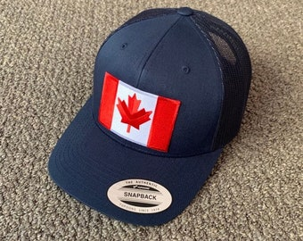 2779fff962f273 CANADA Flag Hat SnapBack American Trucker Mesh Cap Handcrafted in the USA!