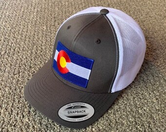 64829334e85c9f State of COLORADO Flag Hat SnapBack American Trucker Mesh Cap Handcrafted  in the USA! Color: Charcoal/White Mesh