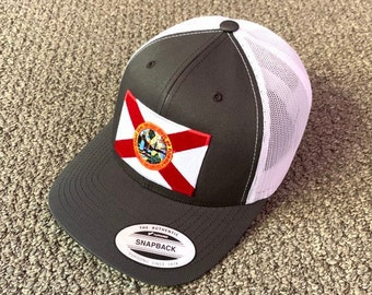 9ee3fc3a7bf06c State of FLORIDA Flag Hat American Trucker SnapBack Mesh Cap Handcrafted in  the USA! Color: Charcoal/White
