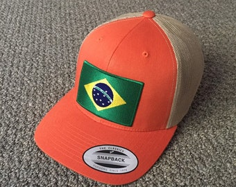 d3c3197da81 BRAZIL Flag Hat Trucker SnapBack Cap with Brazilian Flag Embroidered Patch  Handcrafted in the USA!