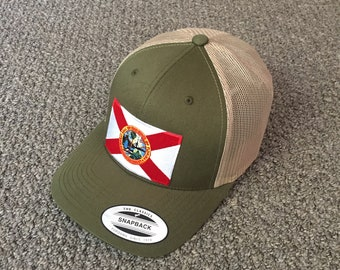 22ce9c214c3676 State of FLORIDA Flag Hat American Trucker SnapBack Mesh Cap Handcrafted in  the USA! Color: Moss/Khaki