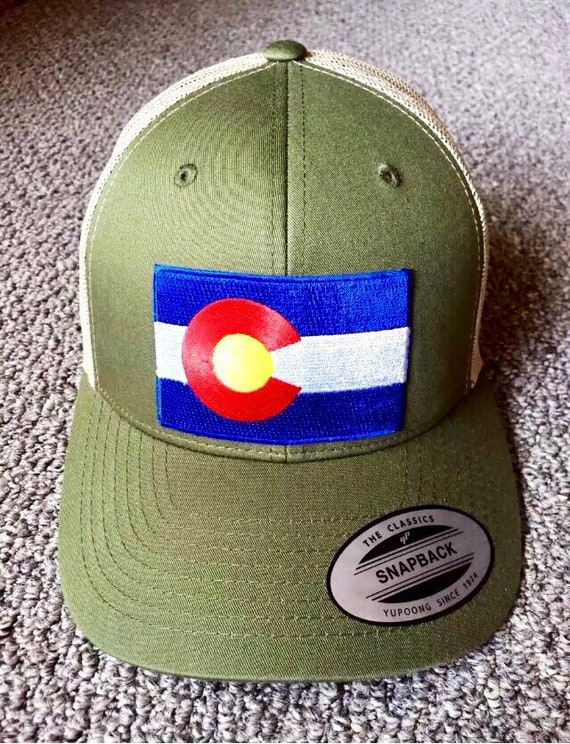 State of Colorado Flag Hat SnapBack Trucker Mesh Cap Made in the USA Moss//Khaki