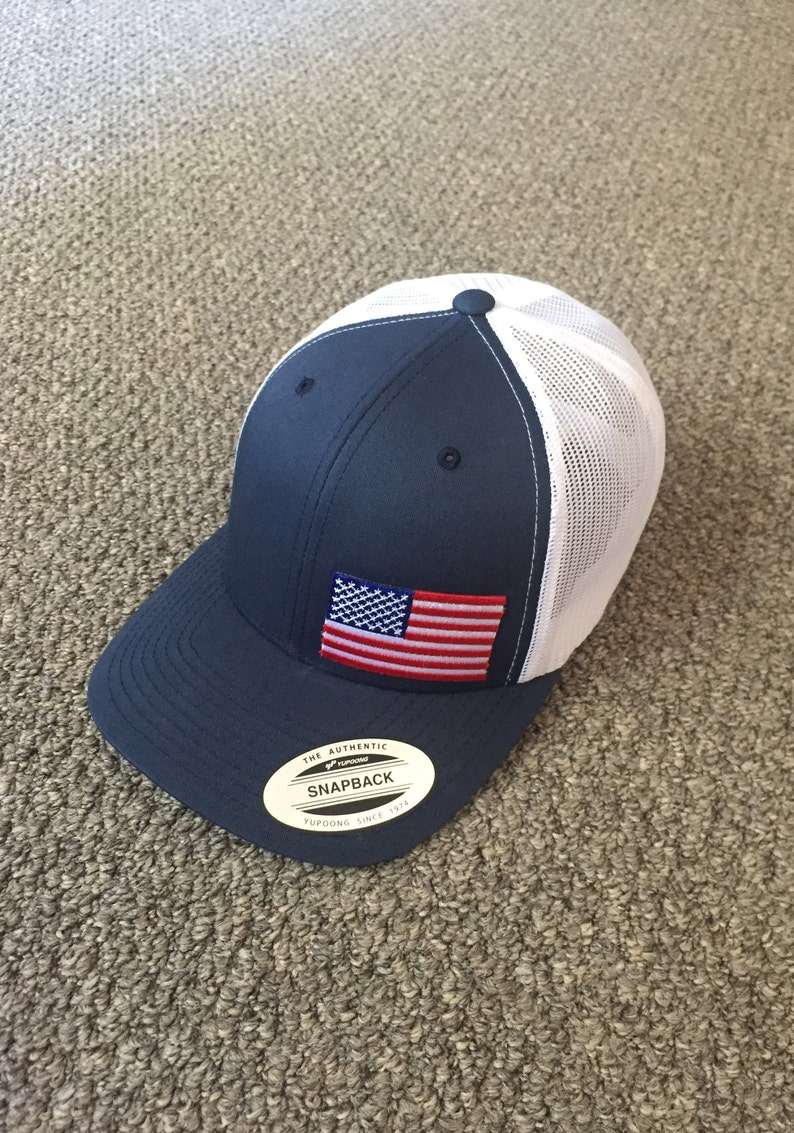 a264f53b69f40 US Flag Hat American Trucker Mesh SnapBack Cap Handcrafted in image 0 ...