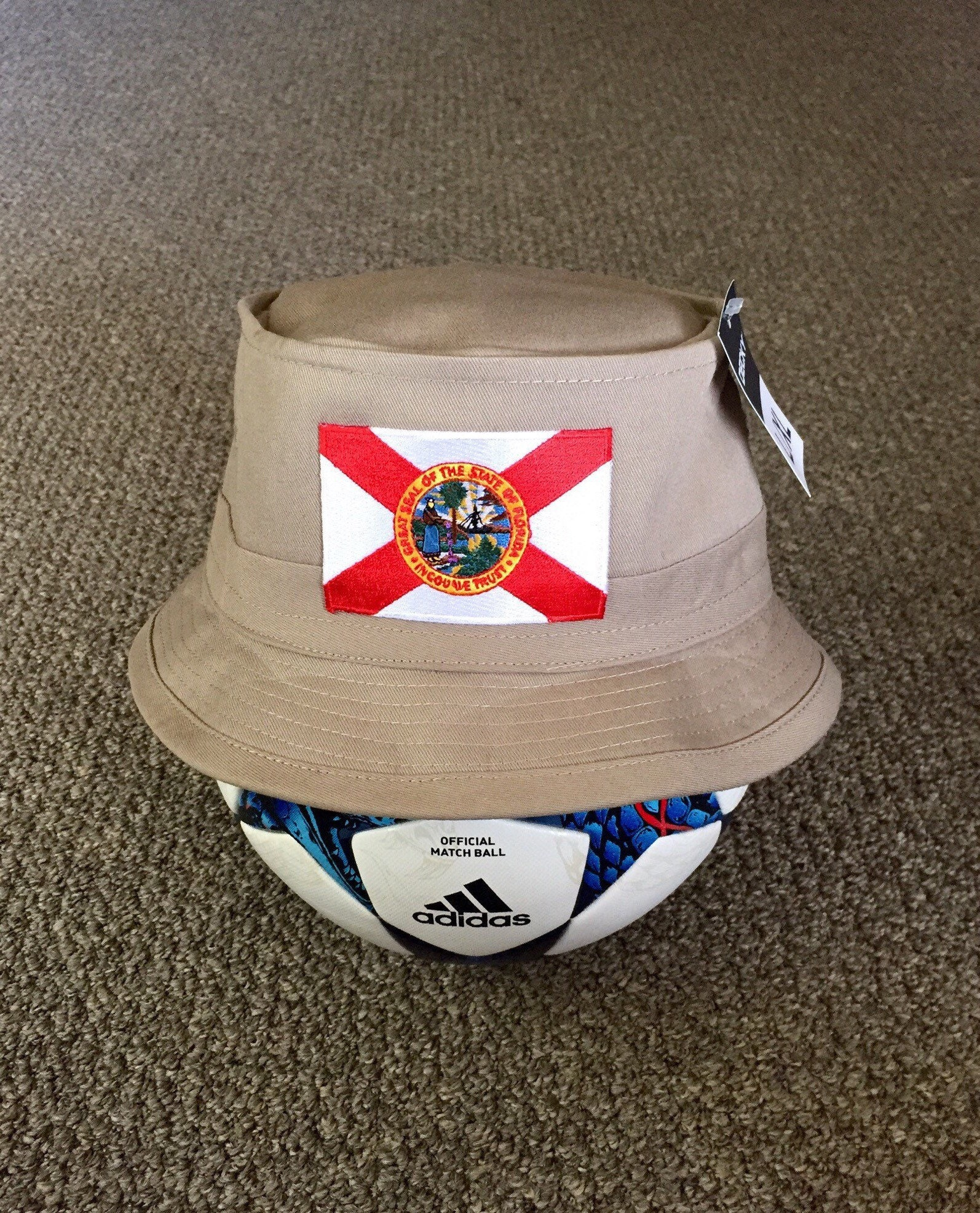 State of FLORIDA Flag Bucket Hat Decky Fishing Hat Handcrafted  e218a29ea364