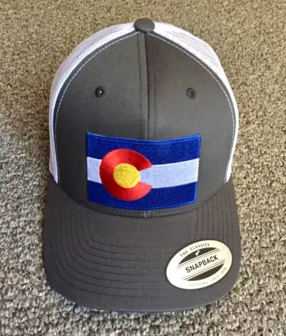 State of Colorado Flag Hat SnapBack Trucker Mesh Cap Handcrafted in the USA!