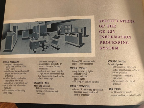 GE 225 Information Processing System Sales Brochure in Mint Condition -  Early days of computing!