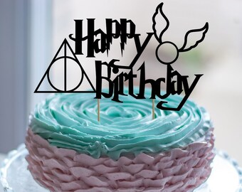 Happy Birthday Harry Potter Cake Topper Golden Snitch Deathly Hallows