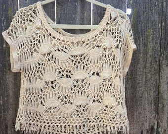b6e2cf6203c4bd Vintage Cream Crochet Boho Hippie Blouse