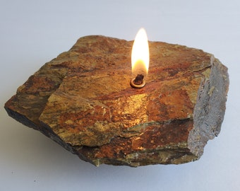 Slate Rock Candle | Natural Stone Rock | Forever Rock Candle | Oil Lamp Candles | Altar Prayer Metaphysical | Diffuser | Cabin Home Decor