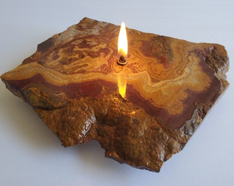 Red Onyx Rock Candle | Natural Stone Rock | Forever Rock Candle | Oil Lamp Candles | Altar Prayer Metaphysical | Diffuser | Home Decor