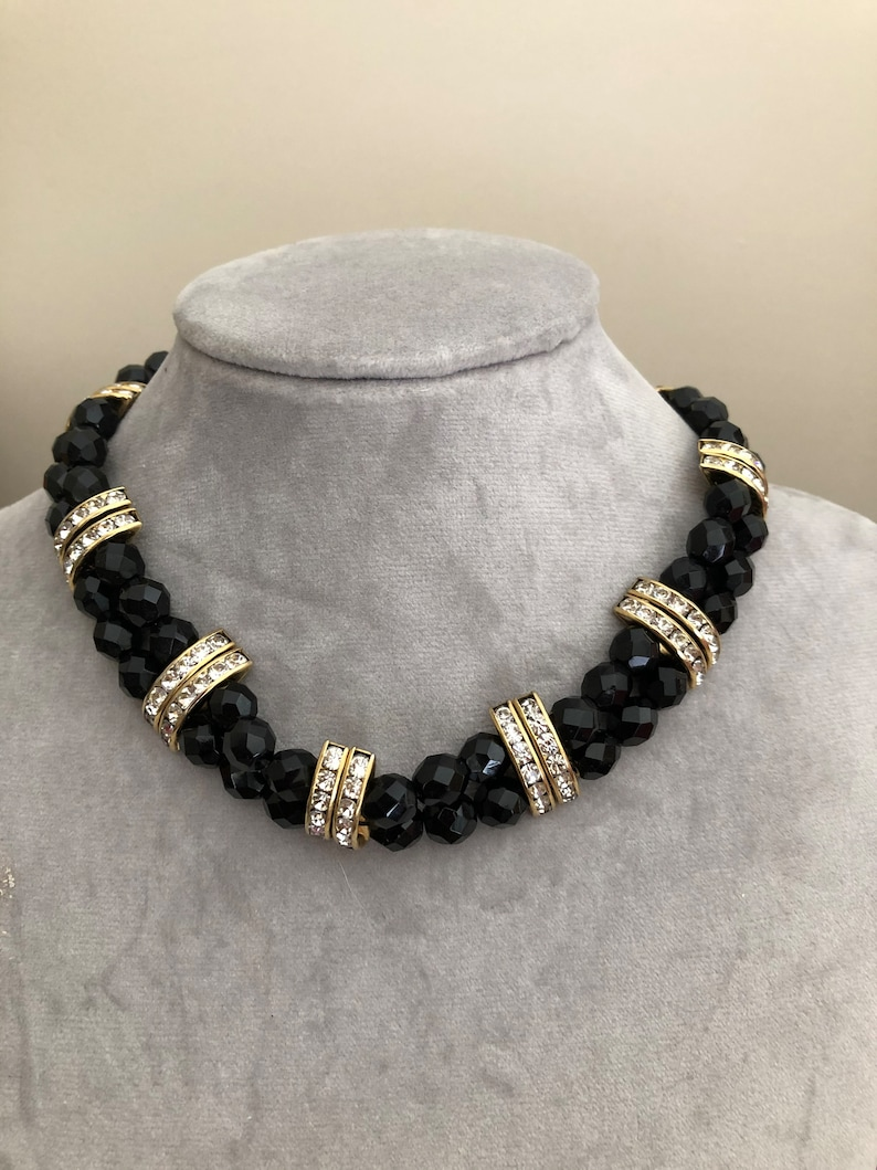 vintage 1980s faceted black glass rhinestone bar choker necklace 80s