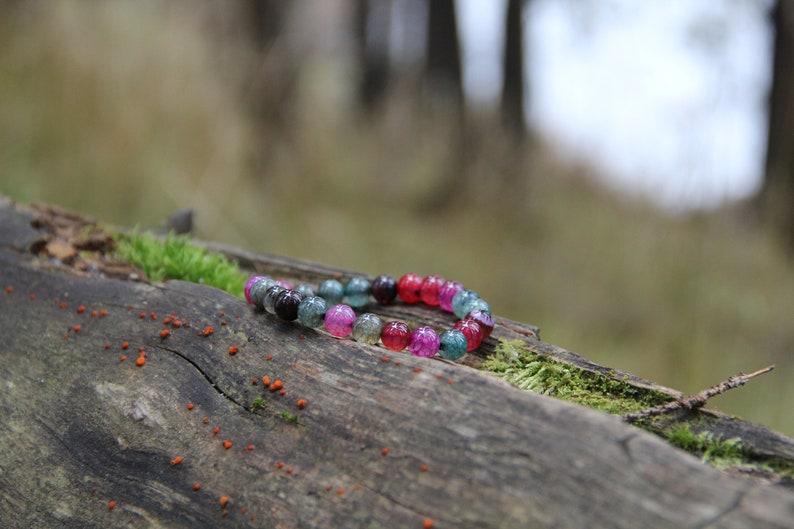 Multicolor Tourmaline Bracelet  Root Chakra Polished Beads Bracelet Natural Protective Gemstone Jewelry BO57