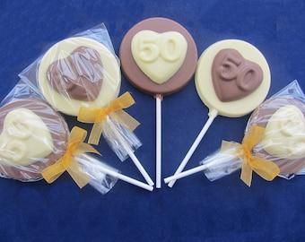 Belgium Chocolate 50th Heart Birthday Or Anniversary Lollipops