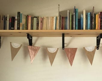 copper + lace paper bag bunting