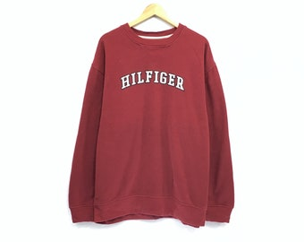 f56f57b0 Tommy Hilfiger Crewneck Sweatshirt Embroidery Big Spell Out Logo Pullover /  Fashion Style / Streetwear / Top Fashions / Overlarge Size /