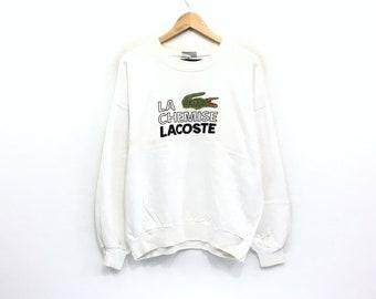 604f7409 Lacoste Crewneck Sweatshirt Embroidery Big Spell Out Logo Pullover /  Fashion Style / Streetwear / Urban Style / Medium Size