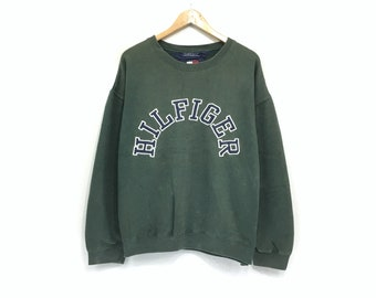 156b3687 Tommy Hilfiger Crewneck Sweatshirt Embroidery Big Spell Out Logo Pullover /  Fashion Style / Streetwear / Top Fashions / Large Size / Urban S