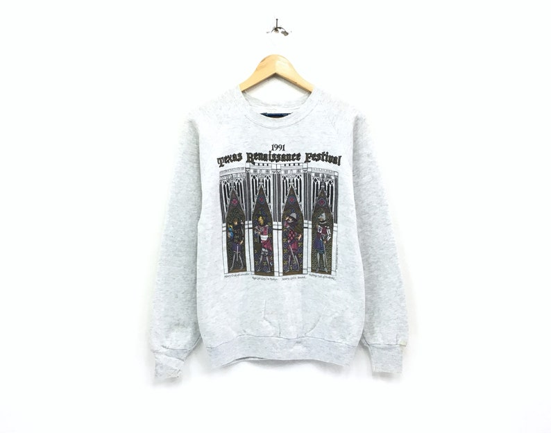 Vintage Texas Renaissance Festival crewneck sweatshirt big print spell out  logo pullover / fashion style / streetwear / medium size