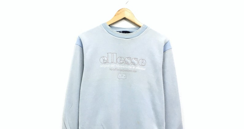 Ellesse Crewneck Sweatshirt Embroidery Big Spell Out Logo Pullover  Streetwear  Sportswear  Tennis Fashion  Medium Size
