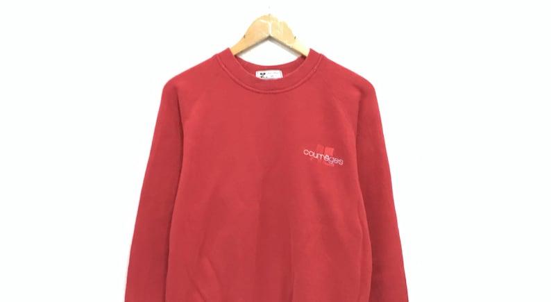 Courreges Paris Crewneck Sweatshirt Embroidery Small Logo Pullover  Fashion Style  Streetwear  Small Size  Sportswear