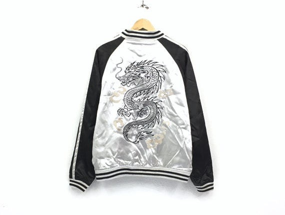 Vintage Sukajan embroidery black dragon logo japan