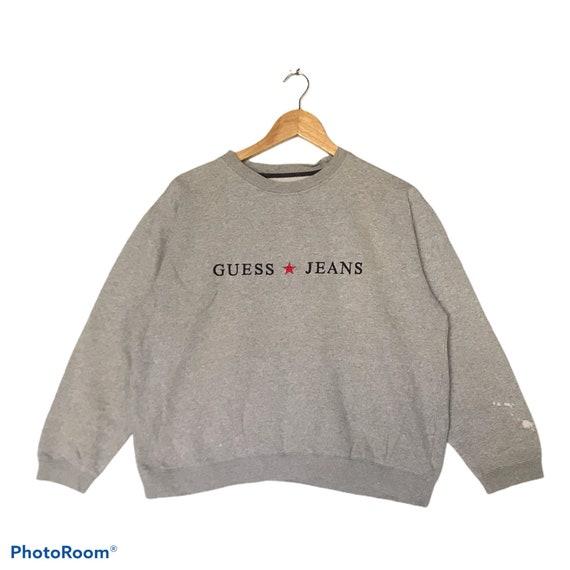 Vintage Guess Emboridery Spellout Pull Over Sweatshirt Black Colour L Size Rare Item