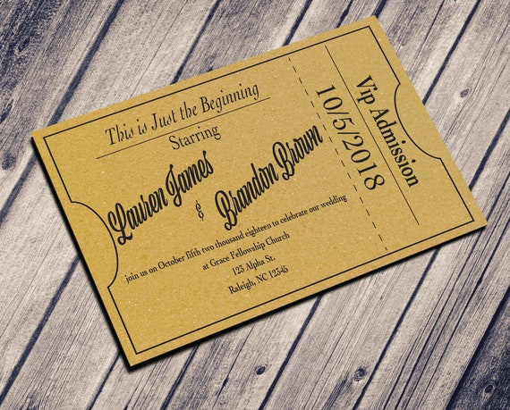 theater ticket wedding invitation rustic wedding invitation etsy