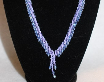 Hand Beaded Y-Style Necklace with Crystal Edging