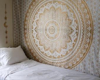 Golden Ombre Handmade Colors Of India Mandala Tapestry Wall Hanging Bedroom Decor Block Printed Bedspread Dorm Throw