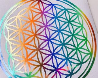 Flower of Life Vinyl DecalLaptop WallMandala Sacred GeometryRainbow