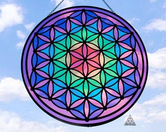 Hippie Witchy Decor Flower of life  Seed of Life Window Hanging Charm Decoration Sacred Geometry Crystal Suncatcher Boho