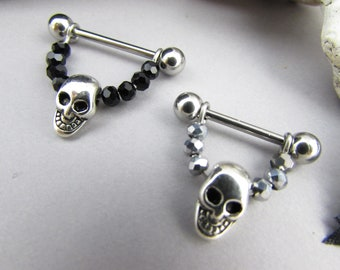 2pcs Skull Head Nipple Rings 14g Barbell Bar Rings Piercing Punk Halloween