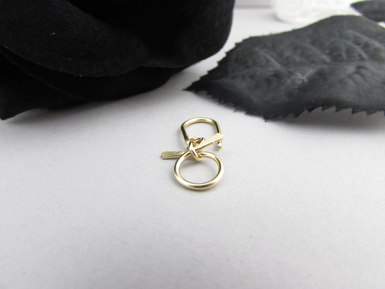 Rose Gold Earring Small Belly Button Ring Cartilage Hook Short Navel Dangle 12k Gold Fill Body Jewelry Bow Belly Ring Silver