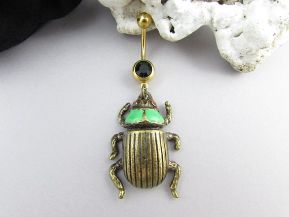beetle belly ring silver surgical steel handmade short etsy