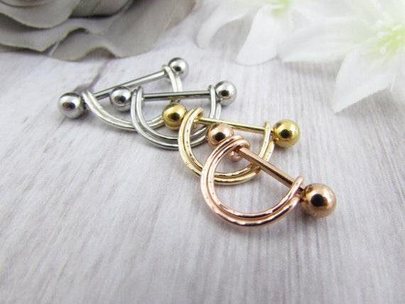 """Adjustable Nipple Shields Rings Jewelry 14g Piercing Barbells Pair 3//4/"""" Bronze"""