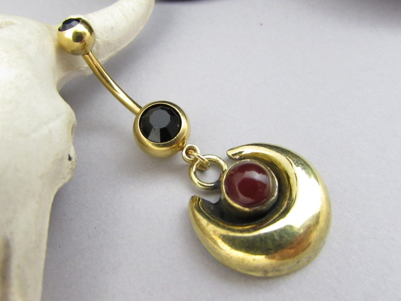 Belly Ring Handmade Short Drop Navel Bar Gemstone Gold Surgical Steel Dark Red Coral Crescent Moon Vermeil Ethereal Body Jewelry 14g