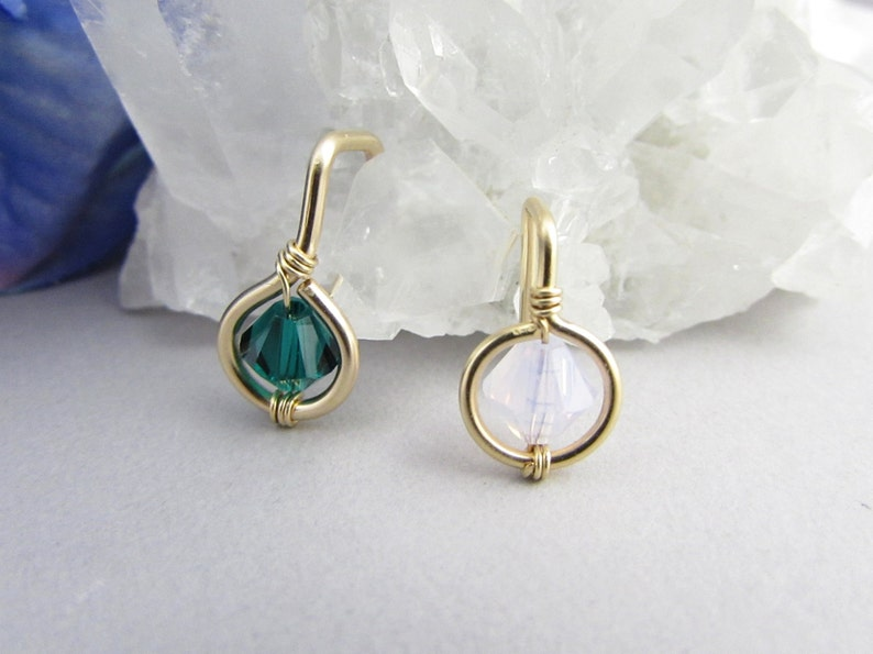 18g Solid 14k Gold Crystal Small Non Dangle Belly Ring Dainty Belly Button Ring Petite Belly Piercing Cartilage Hook Body Jewelry