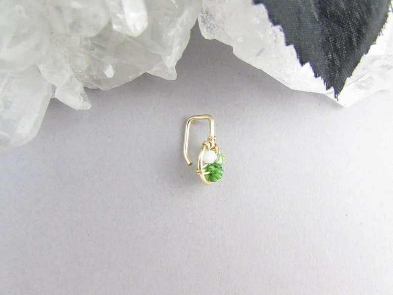 Body Jewelry Rose Petite Belly Piercing Green Gold Small Non Dangle Crystal Belly Ring 12k Gold Fill Silver Dainty Belly Button Ring