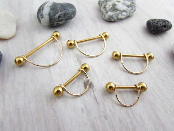 14g Gold Minimalist Textured V Nipple Shield 12mm 14mm 16mm 19mm 22mm Barbell 316L Stainless Steel Nipple Ring Nipple Ring Barbell