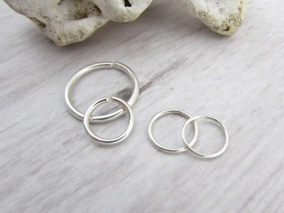 Seamless 999 Argentium Fine Sterling Silver Hoop Ring 20g 6mm 7mm 8mm 9mm 10mm 11mm 12mm 13mm 14mm Nose Septum Cartilage Conch Lip Nipple