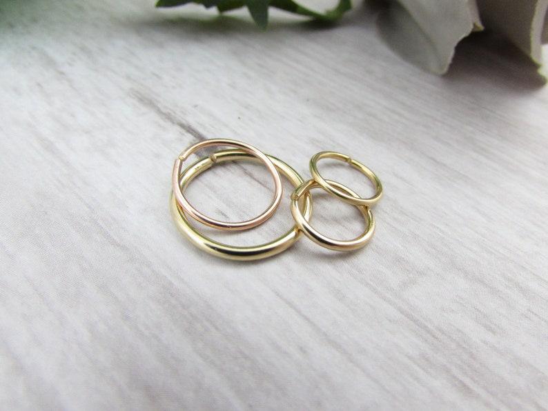 14K Rose//Yellow Gold Heart Cartilage Hoop Earring 24G 22G 20G 18G 16G Daith Ring Helix Tragus Conch